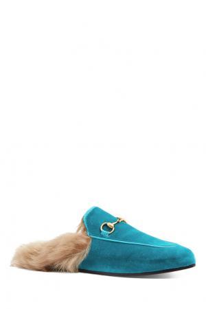 Бархатные слиперы с мехом Gucci. Цвет: голубой