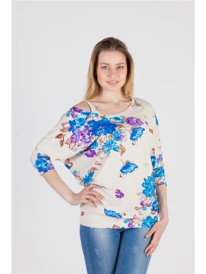 Блуза Летучая мышь Ням-Ням. Цвет: бежевый, голубой, сиреневый