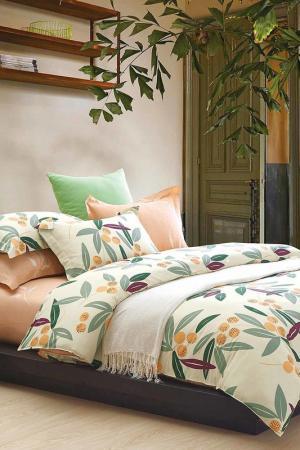 Постельное белье 2,0 сп, 50х70 Jardin. Цвет: зеленый, желтый, оранжевый