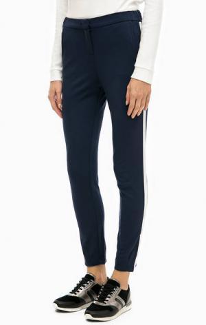 Синие зауженные брюки из вискозы TOM TAILOR. Цвет: синий