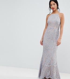 Jarlo Petite Кружевное платье макси с американской проймой. Цвет: серый