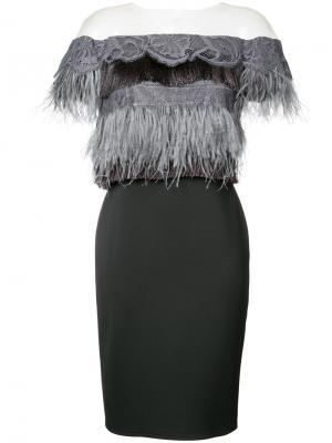 Платье со спущенными рукавами Tadashi Shoji. Цвет: чёрный