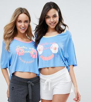 Chelsea Peers Две футболки с принтом Babes Who Brunch. Цвет: синий