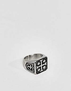 Seven London Кольцо с печаткой. Цвет: серебряный