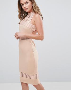 Ginger Fizz Платье миди с высоким воротом и прозрачными вставками. Цвет: розовый