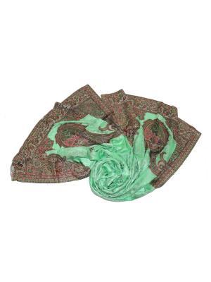 Палантин Ethnica. Цвет: светло-зеленый, коралловый