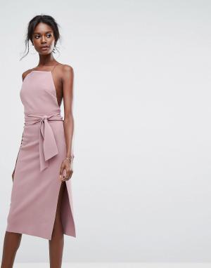 Bec & Bridge Платье миди с завязкой. Цвет: фиолетовый