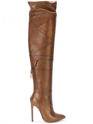 Высокие сапоги с панельным дизайном Gianni Renzi. Цвет: коричневый