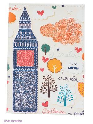 Обложка для паспорта Влюбленный Лондон Mitya Veselkov. Цвет: молочный, оранжевый, темно-синий