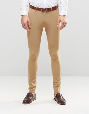ASOS Супероблегающие брюки. Цвет: бежевый