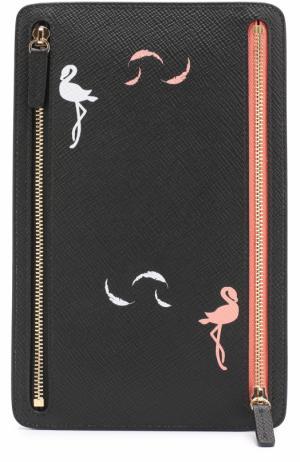 Кожаный кошелек с молниями Smythson. Цвет: черный