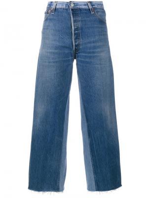 Укороченные широкие джинсы Re/Done. Цвет: синий