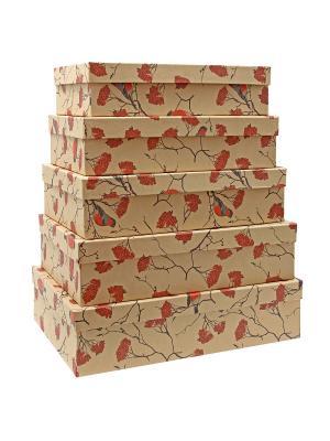 Коробка крафт 54,  набор из 5 прямоугольных большие. 32х20х8 - 40х28х10 сантиметров. VELD-CO. Цвет: черный,красный