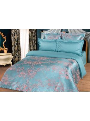 Комплект постельного белья Евро, сатин-жаккард BegAl. Цвет: морская волна