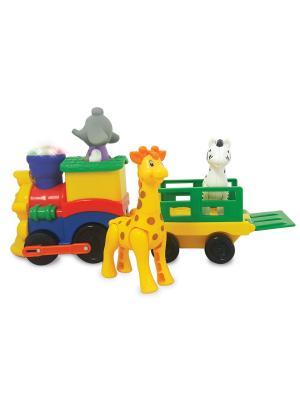 Развивающая игрушка  Паровозик Сафари Kiddieland. Цвет: синий, зеленый, желтый