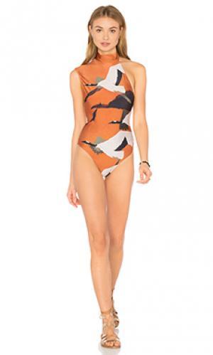 Сплошной купальник на одно плечо Lenny Niemeyer. Цвет: оранжевый