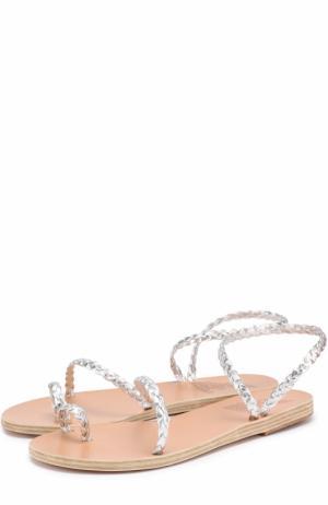 Сандалии Eleftheria из плетеной кожи Ancient Greek Sandals. Цвет: серебряный