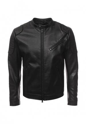 Куртка кожаная Sisley. Цвет: черный