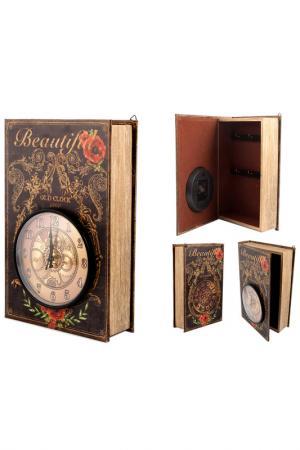 Коллаж-ключница с часами Русские подарки. Цвет: коричневый, черный, красный, з