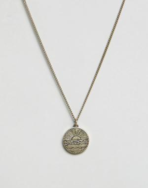 Classics 77 Золотистое ожерелье с круглой подвеской. Цвет: золотой
