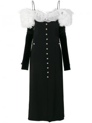 Платье на пуговицах с оборками Alessandra Rich. Цвет: чёрный