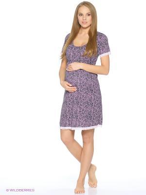Ночная сорочка для беременных и кормящих с кружевом Hunny Mammy. Цвет: сиреневый, бронзовый, темно-серый