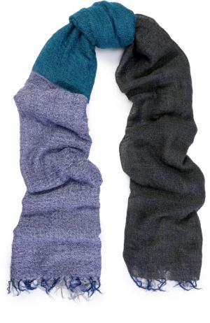 Шерстяной шарф с необработанным краем Yohji Yamamoto. Цвет: синий