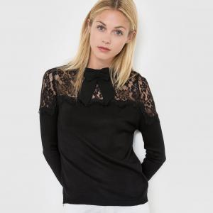 Пуловер из кружева с воротником завязками MOLLY BRACKEN. Цвет: черный