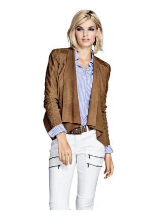 Кожаная куртка Mandarin. Цвет: коньячный