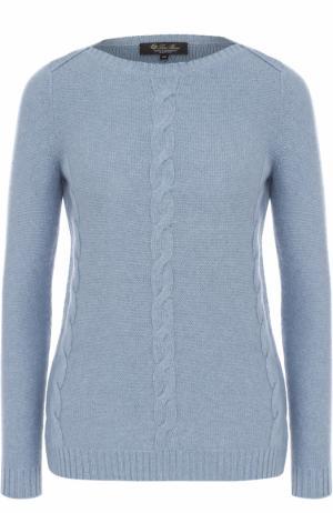 Кашемировый пуловер с вырезом-лодочка и фактурной отделкой Loro Piana. Цвет: синий