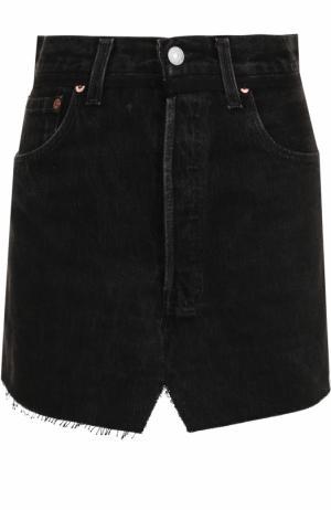 Джинсовая мини-юбка с потертостями Vetements. Цвет: черный