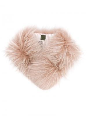 Съемный воротник из меха енота Mr & Mrs Italy. Цвет: розовый и фиолетовый