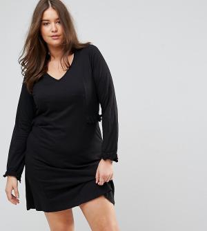 Junarose Трикотажное платье с длинными рукавами и оборками. Цвет: черный