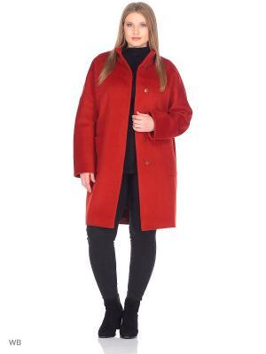 Пальто GallaLady. Цвет: рыжий