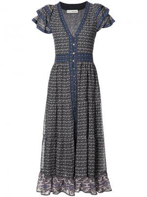 Расклешенное платье на пуговицах спереди Ulla Johnson. Цвет: синий