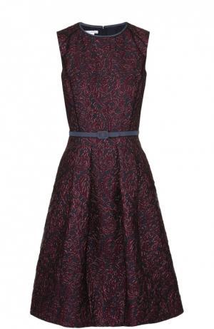 Мини-платье с фактурной отделкой и поясом Oscar de la Renta. Цвет: темно-синий