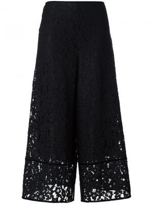 Расклешенные брюки Floral Embroidered Lace See By Chloé. Цвет: чёрный