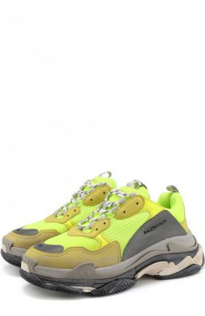Кожаные кроссовки Triple S с текстильной отделкой Balenciaga. Цвет: желтый