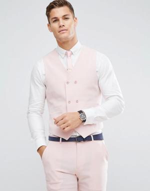 ASOS Розовый приталенный жилет с принтом на подкладке Wedding. Цвет: розовый