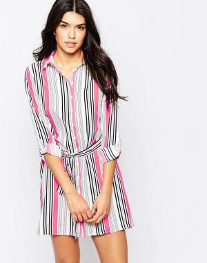 Parisian Платье-рубашка в комбинированную полоску с поясом на талии. Цвет: белый