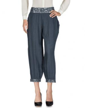 Повседневные брюки 120% LINO. Цвет: свинцово-серый