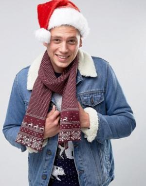 7X Новогодний шарф с традиционным узором Фэйр-Айл. Цвет: красный