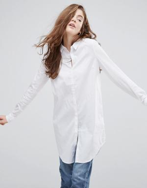 Pieces Удлиненная рубашка на пуговицах. Цвет: белый