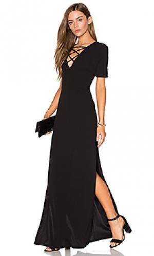 Макси платье на шнуровке с высоким вырезом Lucca Couture. Цвет: черный