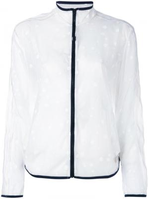 Прозрачная спортивная куртка в горошек Adidas Originals. Цвет: белый