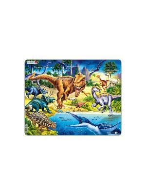 Пазл Динозавры LARSEN AS. Цвет: голубой, белый, желтый, зеленый, оранжевый, синий