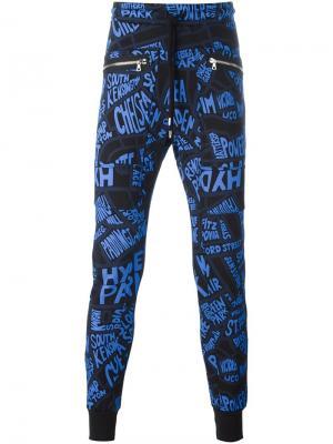 Спортивные брюки с принтом карты Markus Lupfer. Цвет: чёрный