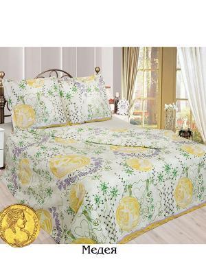 Постельное белье Евро Sova and Javoronok. Цвет: белый, желтый, зеленый