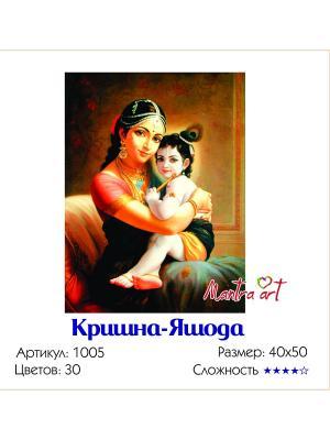 Живопись на холсте Кришна-Яшода + диск в подарок MantraArt. Цвет: белый