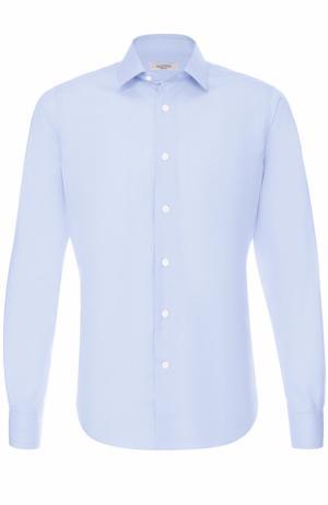 Хлопковая сорочка с воротником кент Valentino. Цвет: светло-голубой
